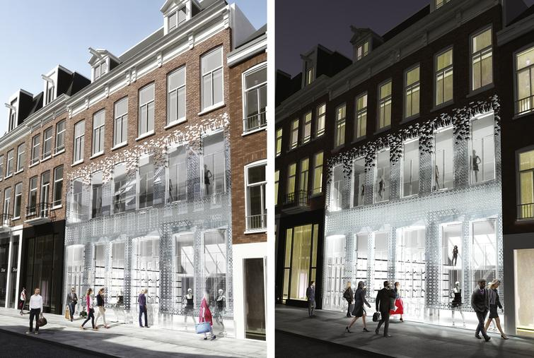 3-D impressions of the glass block facade for the Crystal House in Amsterdam.