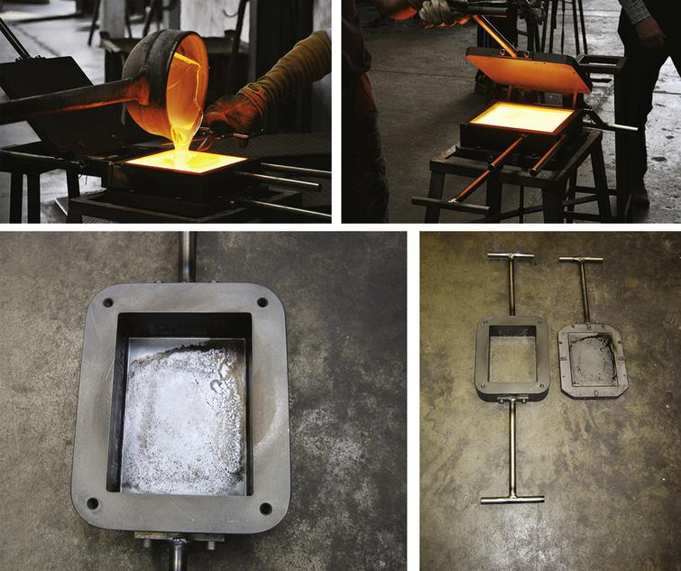 Top: Casting of the soda-lime glass blocks by Poesia Company, using preliminary moulds. Bottom: Final precision moulds.