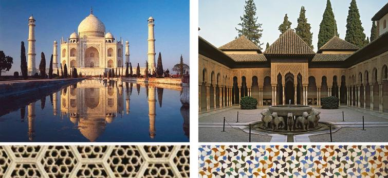 Taj Mahal (left) and Al-Hambra Palace (right) are iconic examples of a universal geometric approach to design.