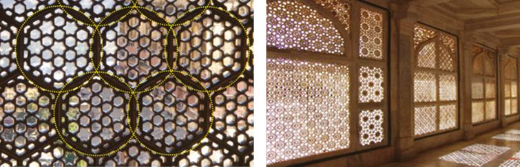 Circles and spheres form the base of Islamic geometric compositions. Examples of this are found in mashrabiya, such as those applied in Sheikh Lotfollah Mosque in Isfahan, Iran (left) and the Taj Mahal (right).