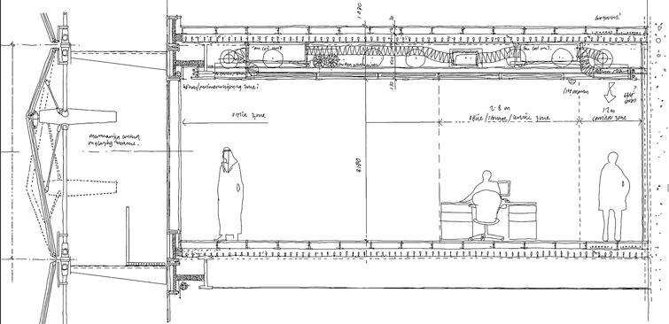 This schematic section through the south of the building shows the integration of the facade with key building elements like structures and mechanical services.
