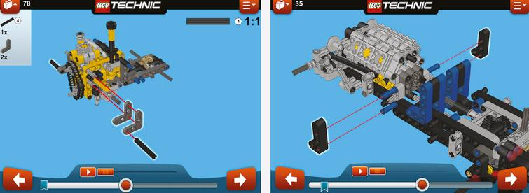These images are part of a LEGO manual illustrating how to assemble a toy mechanism.