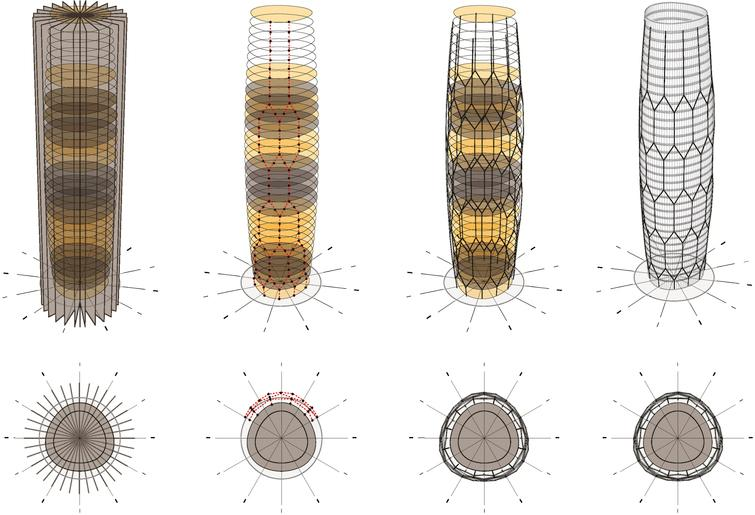 The Al-Bahr Towers curtain-wall and honeycomb structure were defined by the linking of nodes generated from the intersection of tangential circles and the extrusion of the underlying radial grid.