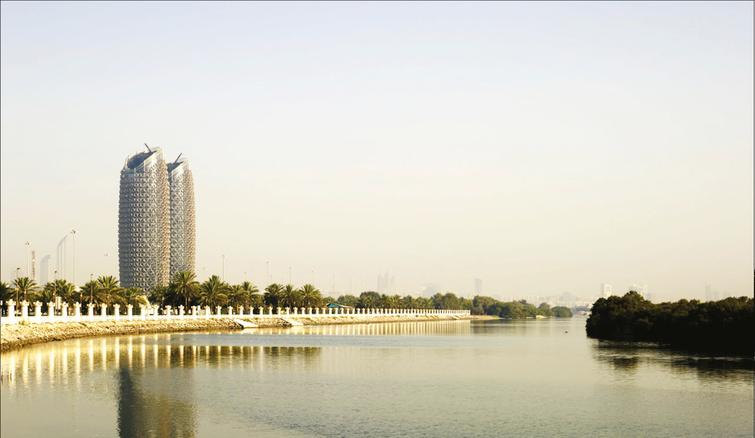 This view shows the Al-Bahr Towers as seen from Salam Street.