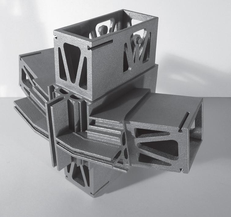 Aluminium printed mock-up of Nematox facade node.