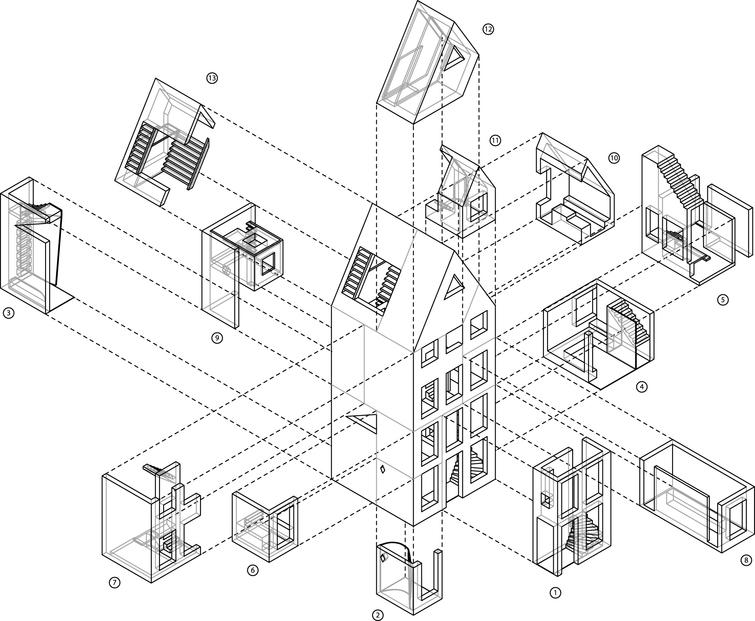 Axonometric view of the construction parts being printed by the KamerMaker (ba DUSarchitects).