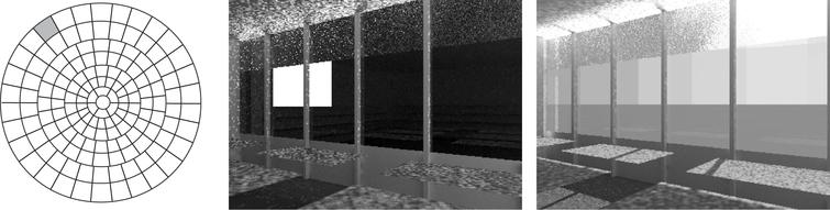 Hemispherical projection of the Tregenza sky patches (left) and one coefficient HDR rendering of a demo scene equipped with a DRC in the upper part of the window (middle), for the patch marked in the projection. The sky patch is visible as white square. The image on the right shows a final result for one specific timestamp, generated by a weighted superposition of all sky coefficients plus one solar coefficient (cf. Sect. 2.1.2, 2.1.4) using sky and sun radiances for this date and time.