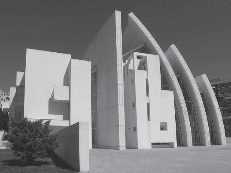 Church Dives in Misericordia, Rome, Italy designed by architect Richard Meier who choose to build the structure using cement containing a significant percentage of titanium dioxide, 2003 (source: http://files1.structurae.de/).