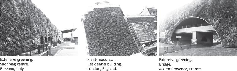 Examples of existing façade greening systems.