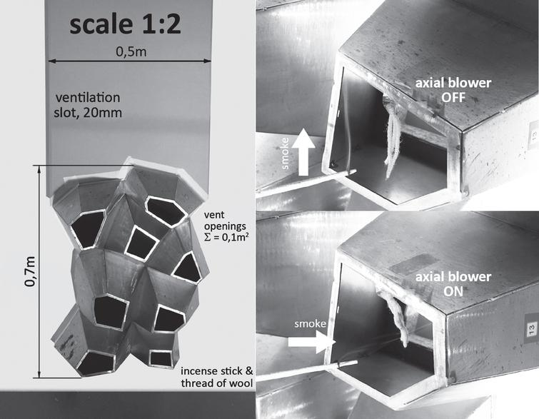 Details of set-up for the experiment with scale model 1:2.