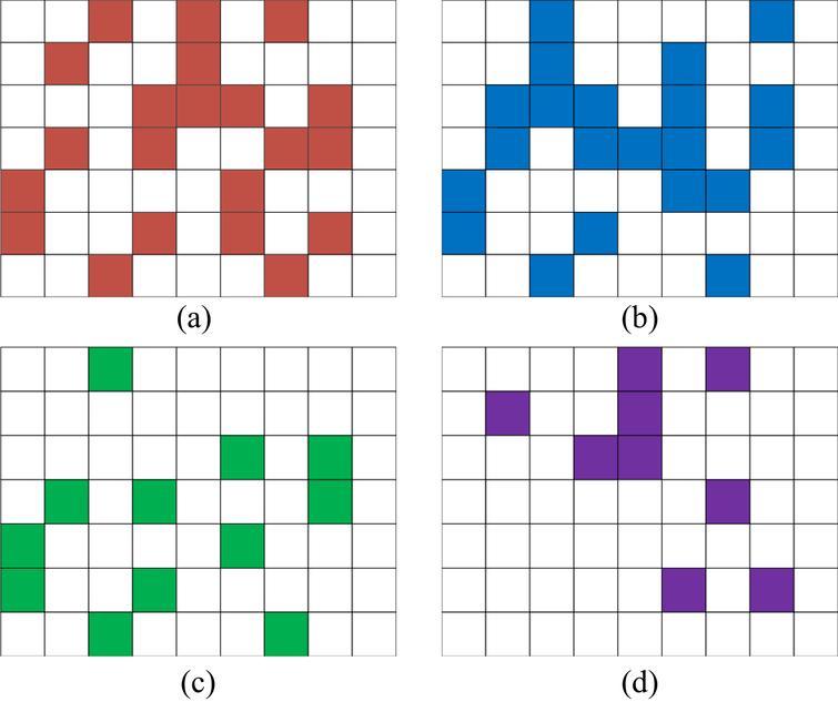 Excluding intersection in EARLYBREAK. (a) AG; (b) BG; (c) {AG}∩{BG}; (d) EG.