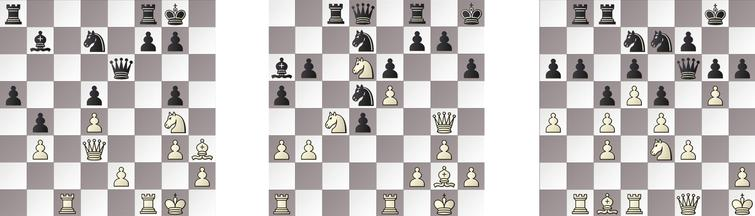 R1: a) HIARCS – JONNY 22w, b) RAPTOR – SHREDDER 21b and c) KOMODO – GRIDGINKGO 25b.