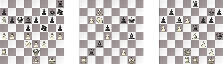 R2: a) JONNY – GRIDGINKGO 47b, b) SHREDDER – KOMODO 44b and c) HIARCS – RAPTOR 35w.