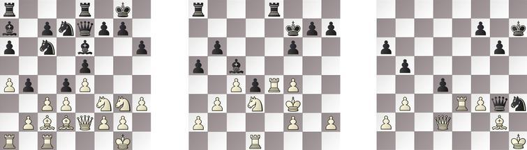 R3: a) RAPTOR – JONNY 18w, b) KOMODO – HIARCS 27w and c) GRIDGINKGO – SHREDDER 46b.