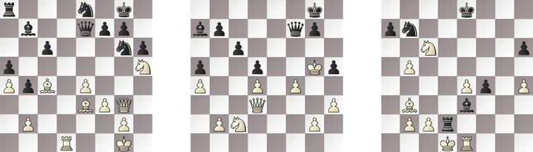 R4: a) JONNY – SHREDDER 31b, b) HIARCS – GRIDGINKGO 44b and c) RAPTOR – KOMODO 31w.