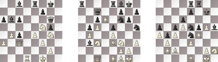 R6: a) JONNY – HIARCS 33b, b) SHREDDER – RAPTOR 22w and c) GRIDGINKGO – KOMODO 41b.