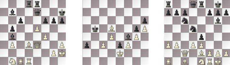 R9: a) SHREDDER – JONNY 31w, b) GRIDGINKGO – HIARCS 106b and c) KOMODO – RAPTOR 16b.
