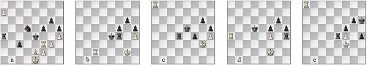 Navrotescu–Shah: as played (a) 56w and (b) 65w, hypothetically leading with SF± to (c) 103w after f4; the easier win (d) 66w after Rxh4 leading with SF± to (e) 75w after h4.