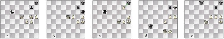 Vidit Gujrathi–L'Ami: as played, (a) 'won' 60w, (b) drawn 61b and (c) 7m-draw 69b. In the chosen winning line by FinalGen, (d) 66. g5 and (e) 76. f5 are wiser and later advances than the played line.