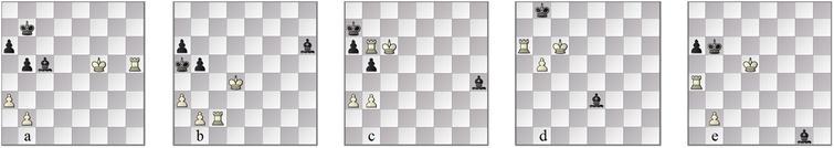 Tiviakov–Korsunsky: positions in the played line, (a)45w, (b)62w, (c)71b and (d)79b. The SF∓ FinalGen line chosen converts to KRPKBP at (e)position 51b.