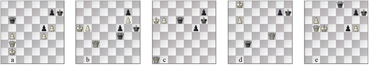 LC0-Et: (a)94w; FinalGen-optimal line (b)105w before b6″″, (c)7m 116w and (d)6m 128b; (e)drawn 175b.
