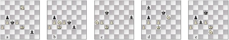 Karpov–Kasparov: (a) pos. 66b; drawing line (b) 73b and (c) 77w; in a better defence (d) 69w and (e) 74b.