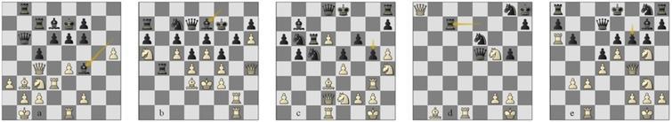 (a)Game18, position 26w; (b)g60 p150w; g78 (c)p27w and (d)p63w; g92 p22w.