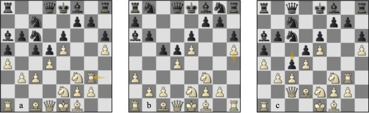 Games 05-06: (a) g05 p14b, (b) g06 p9b, (c) g05 p17w.