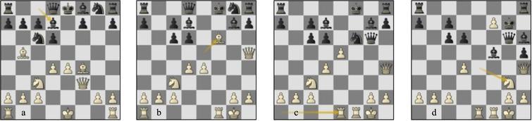 Game 09 Lc-St (a) p9w, (b) p13b, (c) p16b, (d) var. p20b.