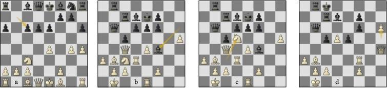 Game 18 St-Lc (a) p9w, (b) p26w, (c) p26b, (d) p31b.