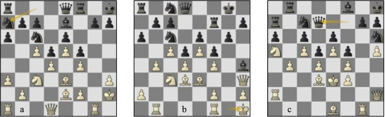 (a) Game 60 St-Lc p19w: (b) Nielsen-Savko (EU-ch U18 Vejen 1993) p18b: (c) game 60 St-Lc p143w.