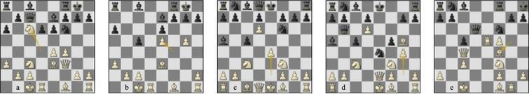 Game 83 Lc-St (a) p11b, (b) p17b: game 89 Lc-St (c) p8b, (d) p11b, (e) p19b.