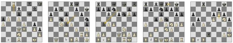 'Win on horizon' positions in the last five decisive games: Semi-finals, a) game 7 Ko-Lc pos. 41b, (b) g8 Lc-Ko p32w, (c) g9 St-Sv p13w; (d) Bronze final g6 Sv-Ko p17w; (e) Final g2 St-Lc p37b.