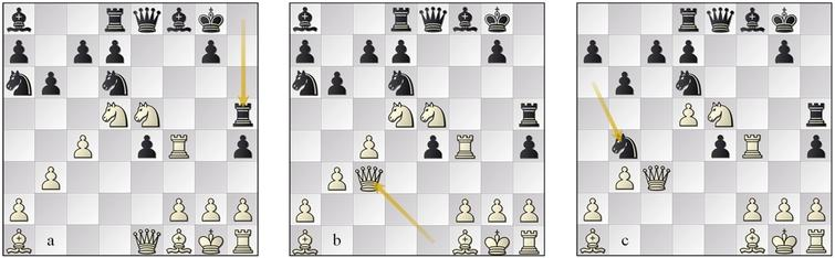(a) position 11w, (b) variation position 11b, (c) variation position 13w.
