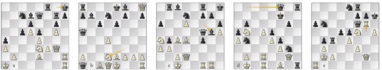 (a) game 49 p79w (Sadler, 2021a); (b) g53 p14b, the '4 Qs' opening; (c) game 77 p26w; (d) game 97, p42w, evals wide apart; (e) game 99, p42b after Rg6!