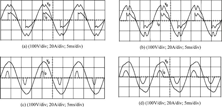 Experimental waveforms of the output voltage and the load current under (a) TRIAC load with the proposed control. (b) TRIAC load with the classic SMC. (c) Rectifier load with the proposed control. (d) Rectifier load with the classic SMC.
