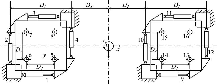 The top view diagram of the shaking tables.