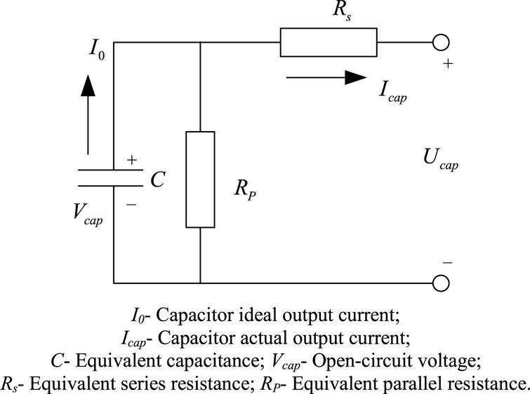 Equivalent RC model of the supercapacitor.