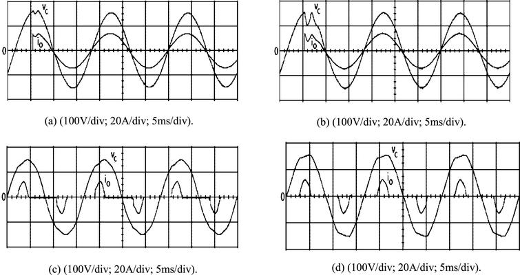 Experimental waveforms under (a) step change in load with the proposed controller; (b) step change in load with classic VSC; (c) rectifier load with proposed controller; (d) rectifier load with classic VSC.