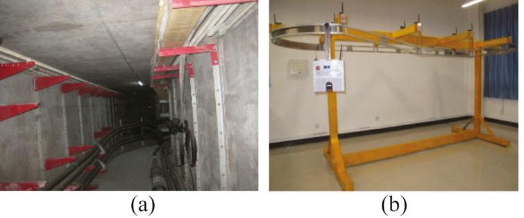 (a) Underground cable tunnel; (b) the cable tunnel inspection robot system.