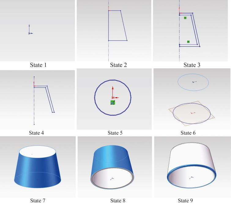 Nine design states for lamp shade.