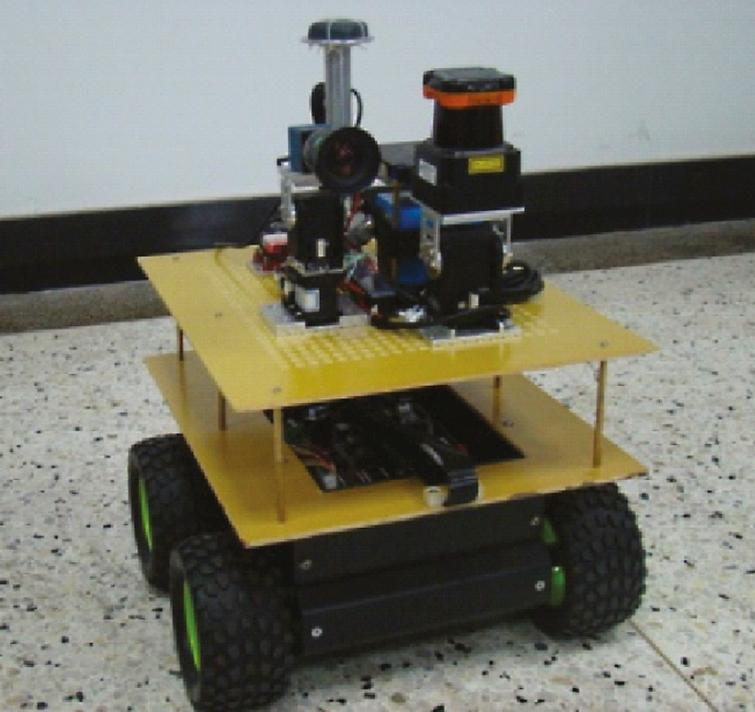 A small ground mobile robot platform with size of 0.36m (L)×0.35m (W)×0.45m (H).