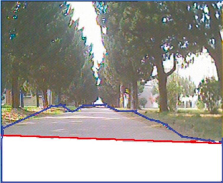 High confidence road area after mapping laser points into image. The red line is the road detected in laser point projected into image and white area under red line is road samples with high confidence level. The blue line is the outline of the road detected by FSVM.