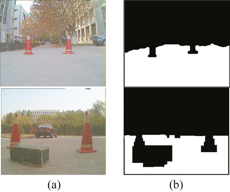 Result of road detection with obstacles on the road, (a) original scenes, (b) result of road detection.