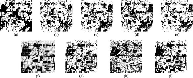 Classification results of the second dataset with different methods (a) Ground truth;  (b) Mahal Dist; (c) Parallel; (d) Max Likeli; (e) Mini Diste; (f) SVM; (g) Adaboost_FAM (spectrum);  (h) Adaboost_FAM (texture); and (i) Adaboost_FAM(spectrum + texture).