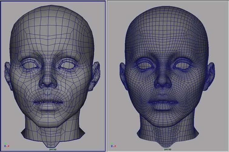 The modeling the head of a character.