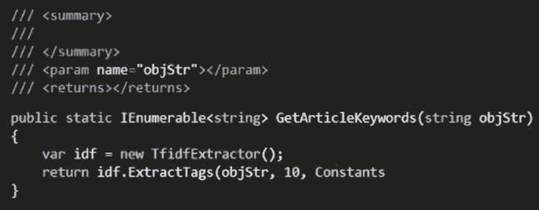 Text segmentation code.