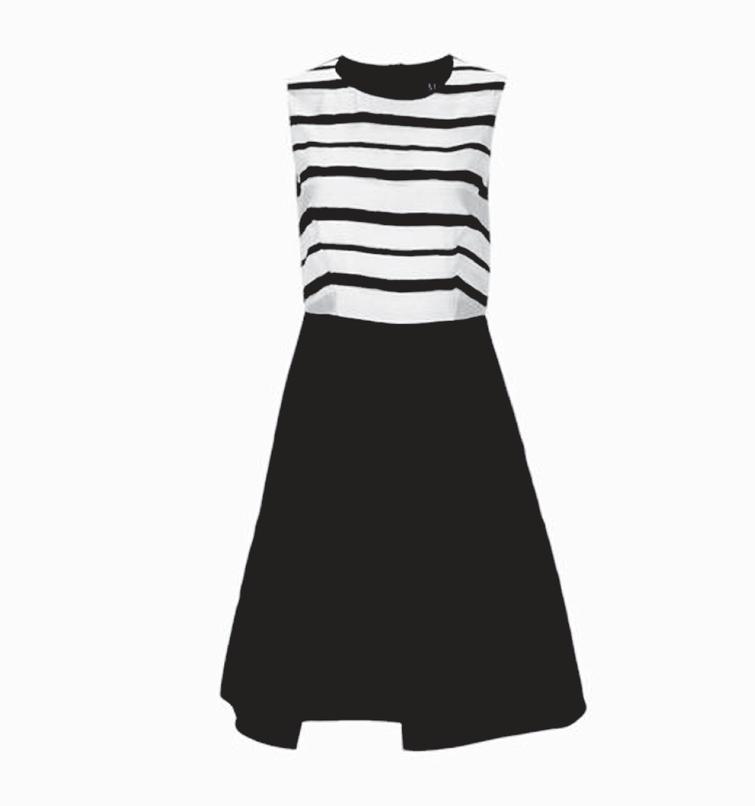 Model of women's sleeveless dress.