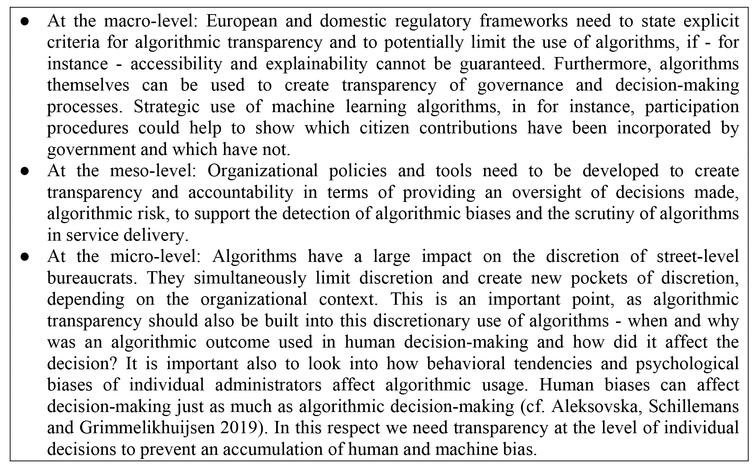 Areas for improvement of algorithmic transparency and decision-making.