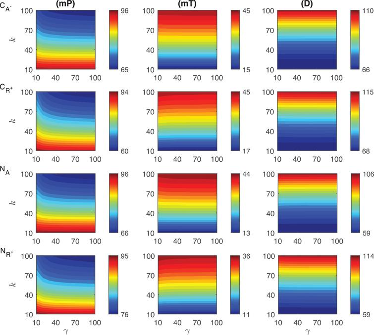 Heat maps for the comparison of three metrics (mid-protein level mP, time to reach mid-protein level mT and duration D) describing the dynamics of competitive (CA−, CR+) and noncompetitive (NA−, NR+) inhibition mechanisms. In these simulations, the signal amplitude γ and persistency k range from a 10-fold to a 100-fold change when ro=0.001. All the other parameters were held constant at their values listed in Section 3.